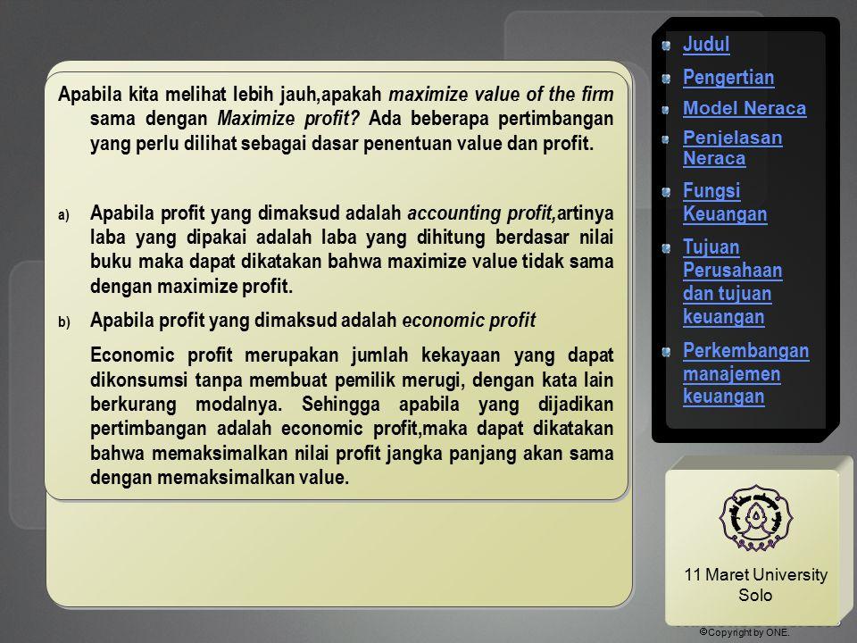 11 Maret University Solo Apabila kita melihat lebih jauh,apakah maximize value of the firm sama dengan Maximize profit? Ada beberapa pertimbangan yang