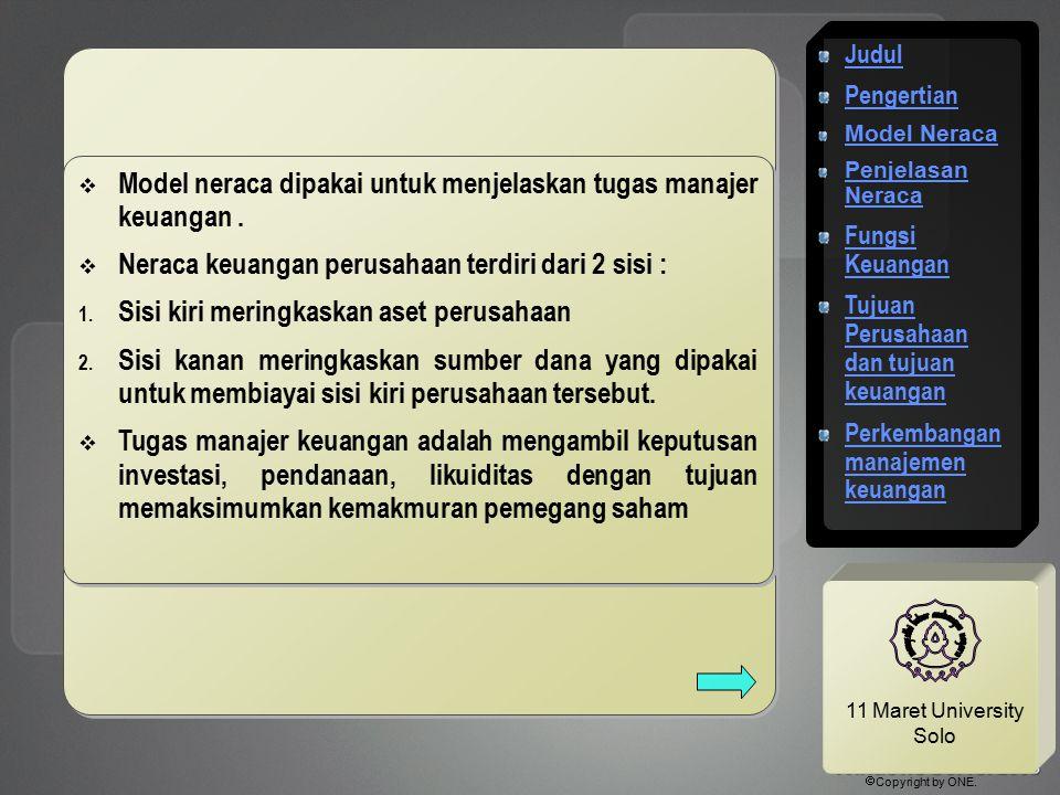 11 Maret University Solo  Model neraca dipakai untuk menjelaskan tugas manajer keuangan.  Neraca keuangan perusahaan terdiri dari 2 sisi : 1. Sisi k