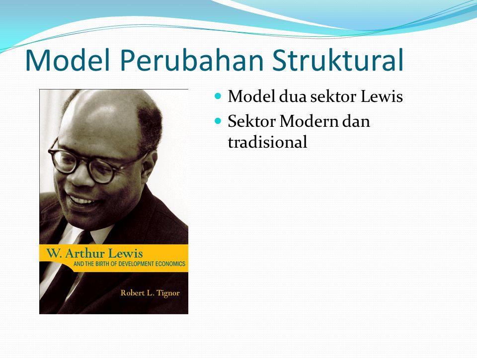 Model Perubahan Struktural Model dua sektor Lewis Sektor Modern dan tradisional