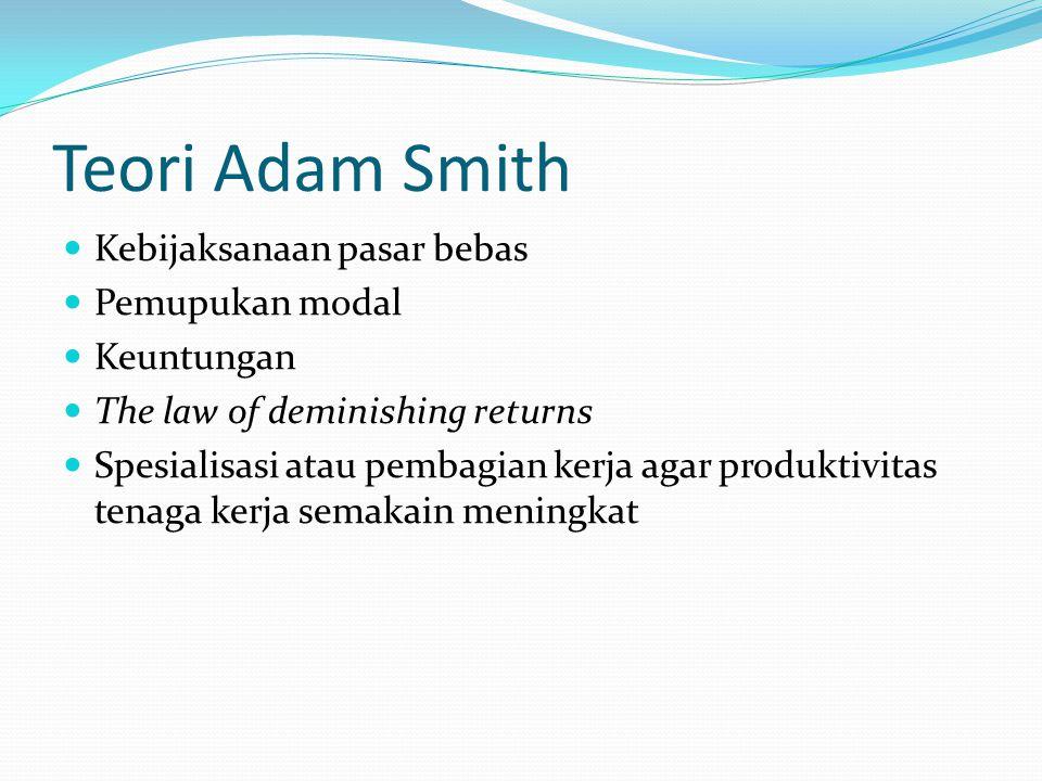 Teori Adam Smith Kebijaksanaan pasar bebas Pemupukan modal Keuntungan The law of deminishing returns Spesialisasi atau pembagian kerja agar produktivi