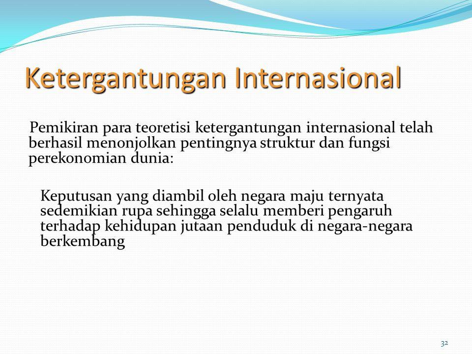 32 Ketergantungan Internasional Pemikiran para teoretisi ketergantungan internasional telah berhasil menonjolkan pentingnya struktur dan fungsi pereko