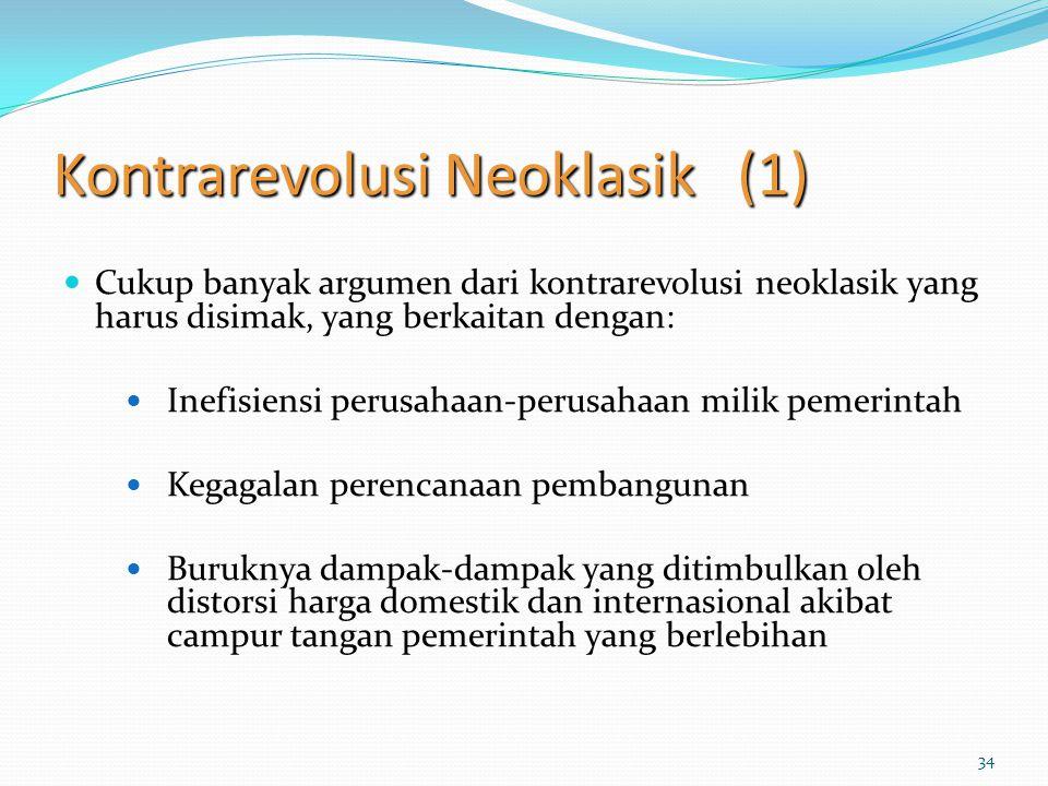 34 Kontrarevolusi Neoklasik (1) Cukup banyak argumen dari kontrarevolusi neoklasik yang harus disimak, yang berkaitan dengan: Inefisiensi perusahaan-p