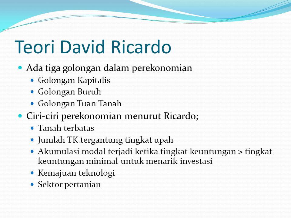 Teori David Ricardo Ada tiga golongan dalam perekonomian Golongan Kapitalis Golongan Buruh Golongan Tuan Tanah Ciri-ciri perekonomian menurut Ricardo;