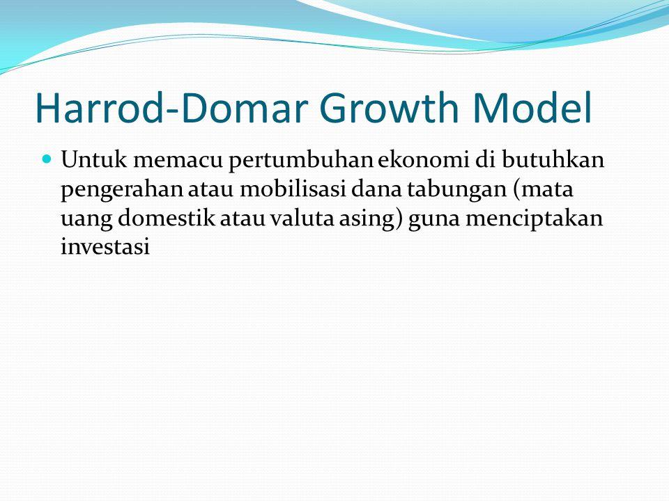 Harrod-Domar Growth Model Untuk memacu pertumbuhan ekonomi di butuhkan pengerahan atau mobilisasi dana tabungan (mata uang domestik atau valuta asing)