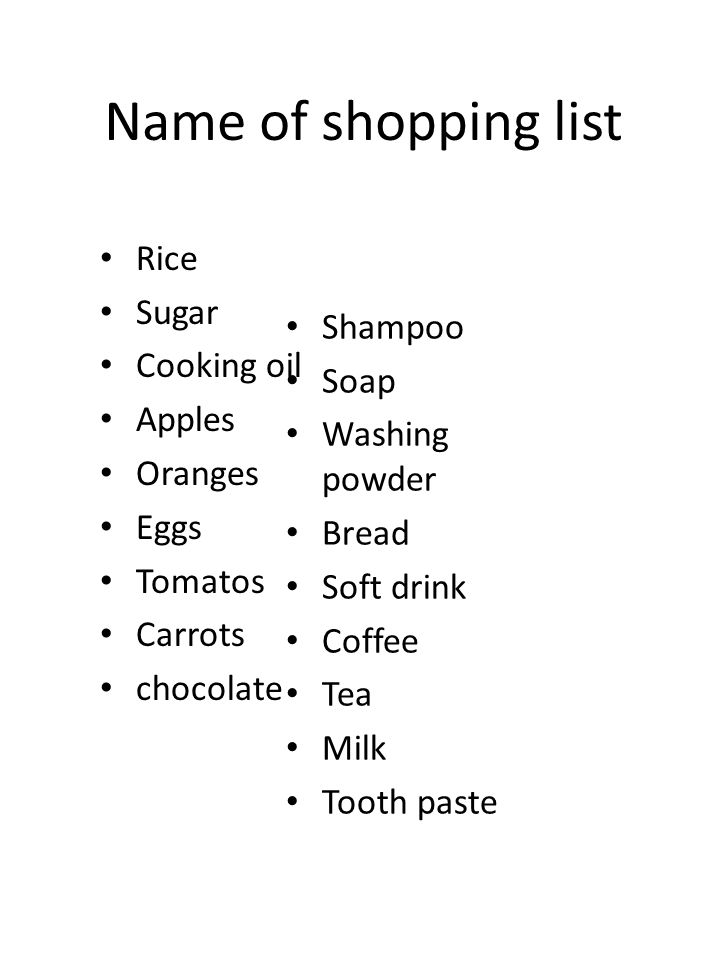 Iwan's Shopping List 1 loaf of bread 30 kg rice 4 kg sugar 2 ltr cooking oil 3 kg eggs 1 pack of tea 1 bottle shampoo 2 bar of soap 1 kg washing powder 3 cans of soft drink