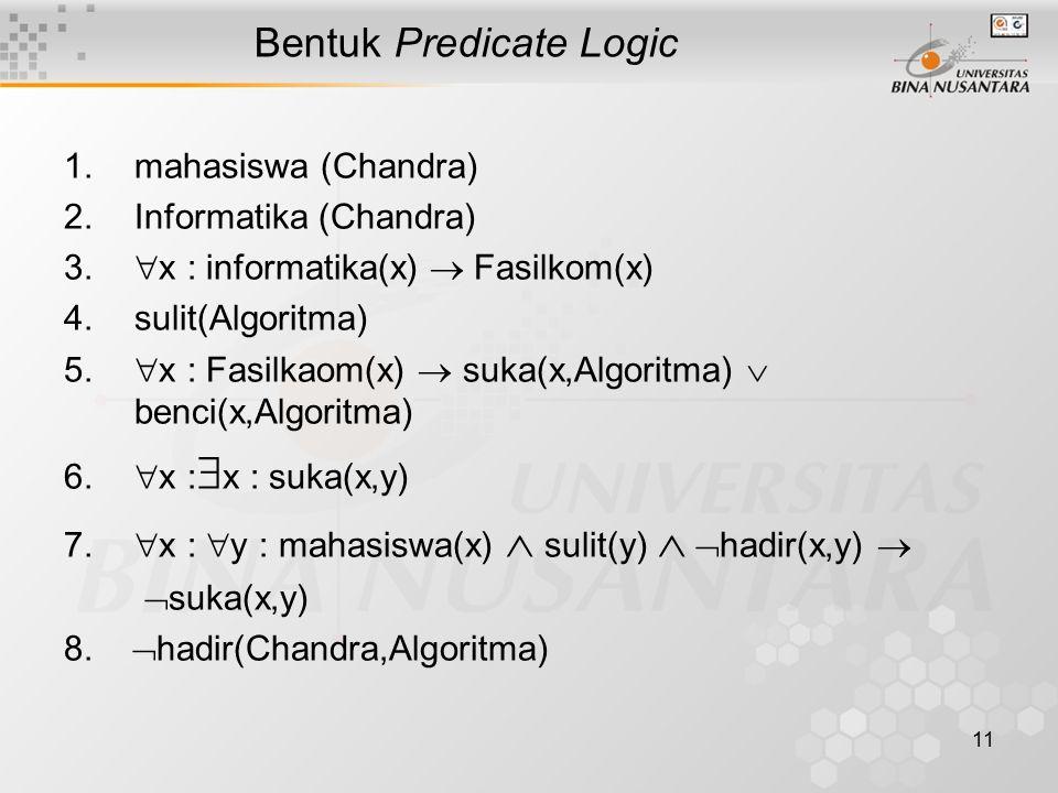 11 Bentuk Predicate Logic 1.mahasiswa (Chandra) 2.Informatika (Chandra) 3.