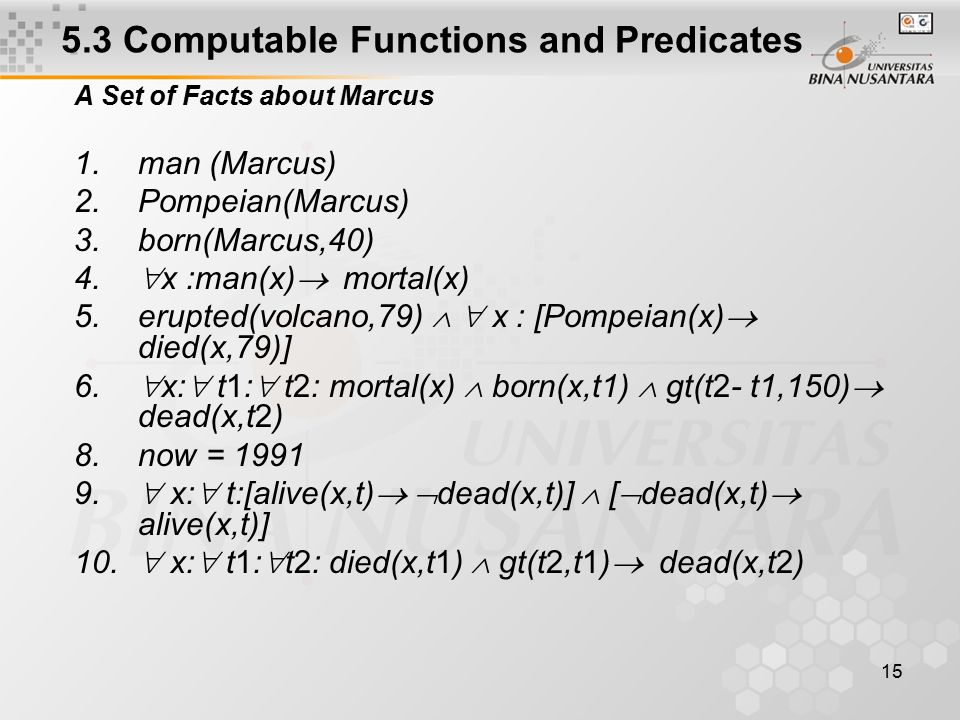 15 5.3 Computable Functions and Predicates A Set of Facts about Marcus 1.man (Marcus) 2.Pompeian(Marcus) 3.born(Marcus,40) 4.