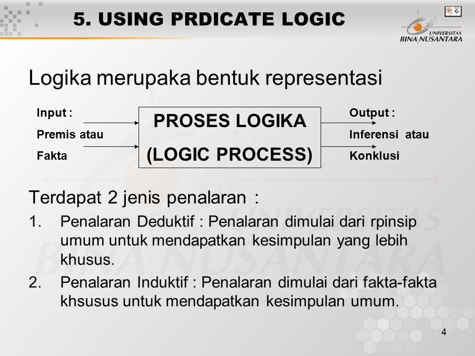 4 5. USING PRDICATE LOGIC Logika merupaka bentuk representasi Terdapat 2 jenis penalaran : 1.Penalaran Deduktif : Penalaran dimulai dari rpinsip umum