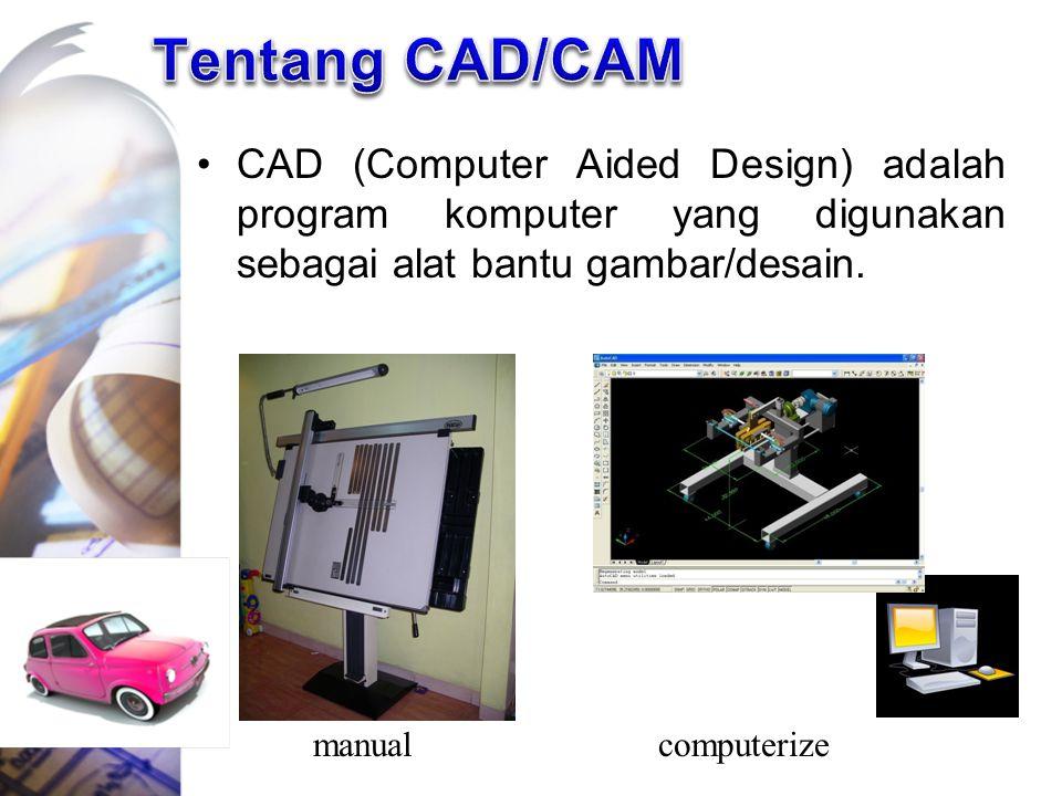 CAD (Computer Aided Design) adalah program komputer yang digunakan sebagai alat bantu gambar/desain. manualcomputerize