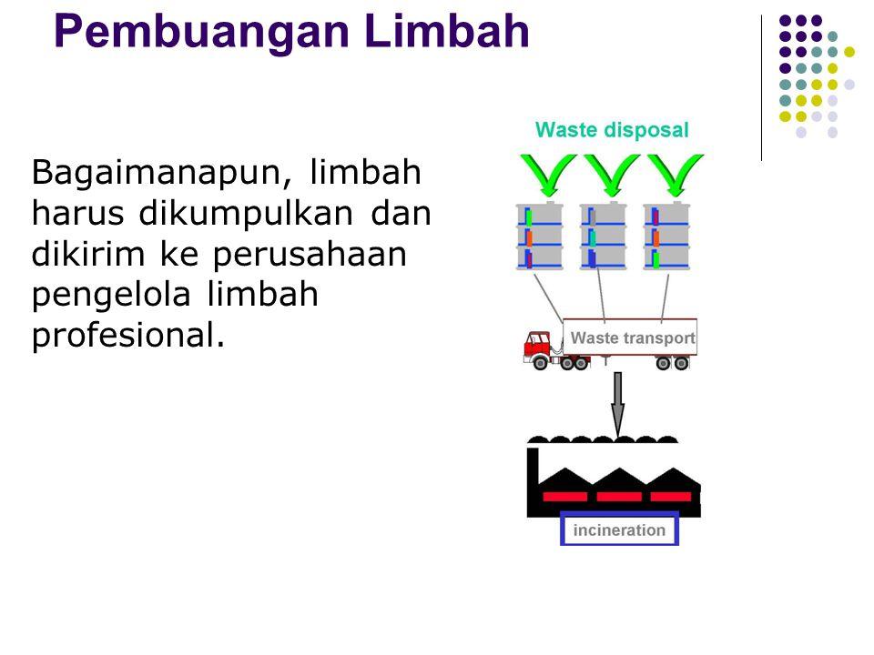 Pembuangan limbah: Kewajiban penghasil limbah B3 (PP – 18/1999) Dilarang membuang limbah scr langsung ke lingkungan Dilarang melakukan pengenceran lim