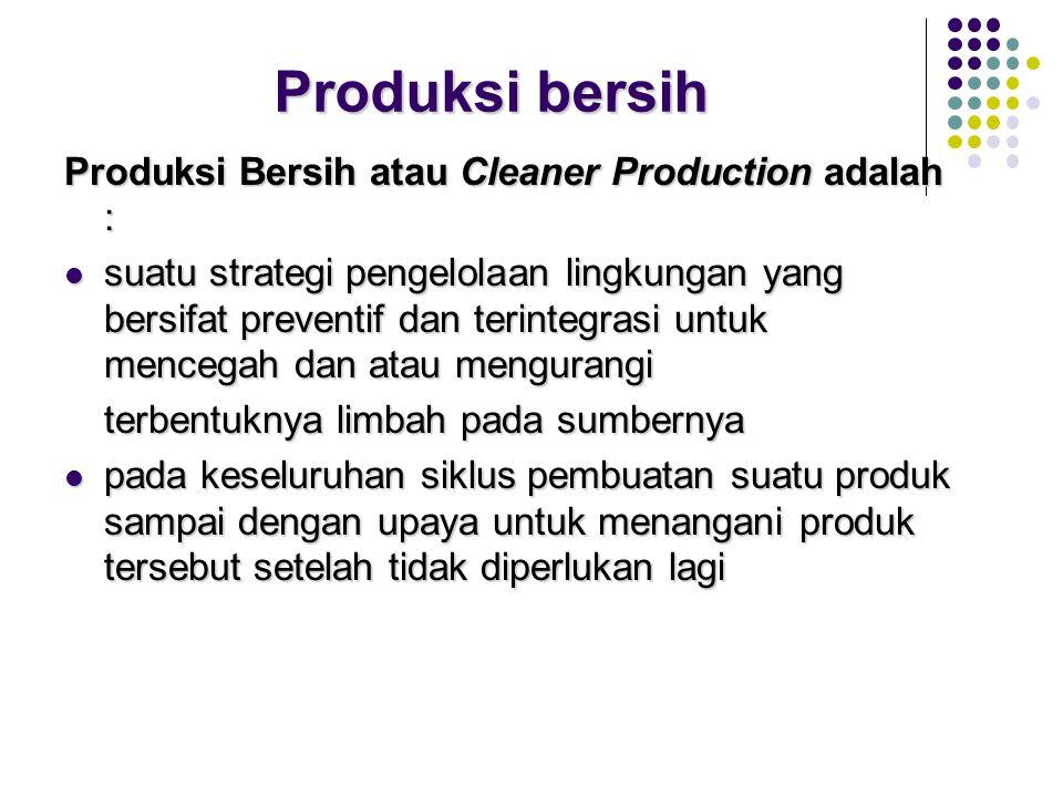 Perencanaan/ pengelolaan dapat dikategorikan menjadi 2 kegiatan yakni: Melakukan produksi bersih (clean production) Melakukan produksi bersih (clean p