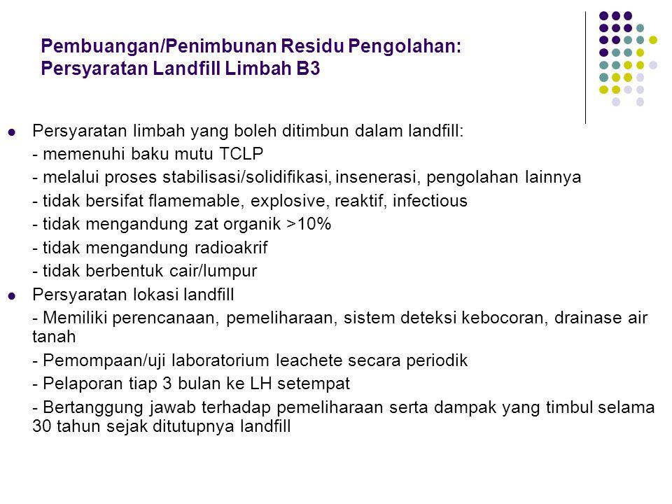 Pembuangan/Penimbunan Residu Pengolahan Persyaratan Landfil Limbah B3 ->Peraturan pemerintah no. 19/1994 dan ->Keputusan Kepala Bapedal no.Kep-04/BAPE