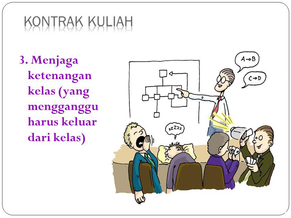 3. Menjaga ketenangan kelas (yang mengganggu harus keluar dari kelas)