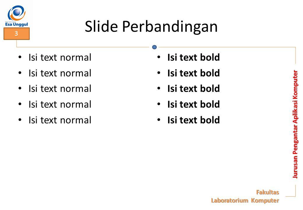 Slide Perbandingan Isi text normal Isi text bold Jurusan Pengantar Aplikasi Komputer Fakultas Laboratorium Komputer 3