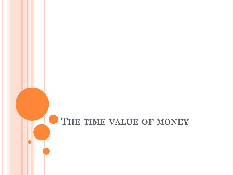 T HE TIME VALUE OF MONEY