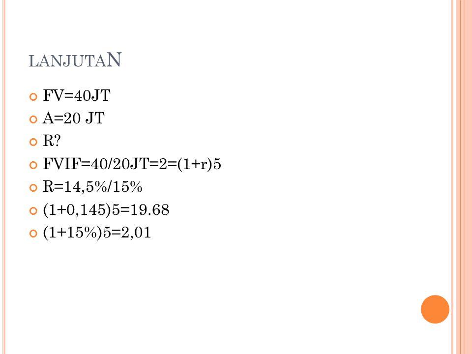 LANJUTA N FV=40JT A=20 JT R FVIF=40/20JT=2=(1+r)5 R=14,5%/15% (1+0,145)5=19.68 (1+15%)5=2,01