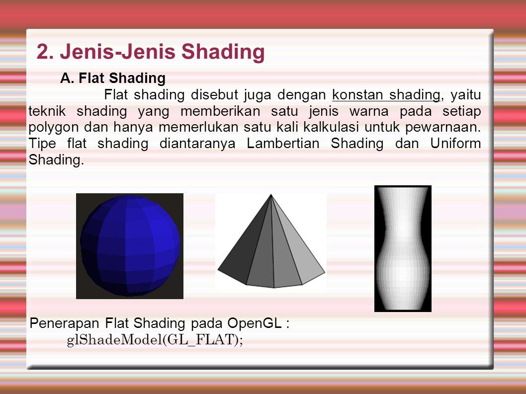 Karakteristik flat shading diantaranya : Pemberian tone yang sama untuk setiap Polygon Penghitungan jumlah cahaya mulai dari titik tunggal pada permukaan.