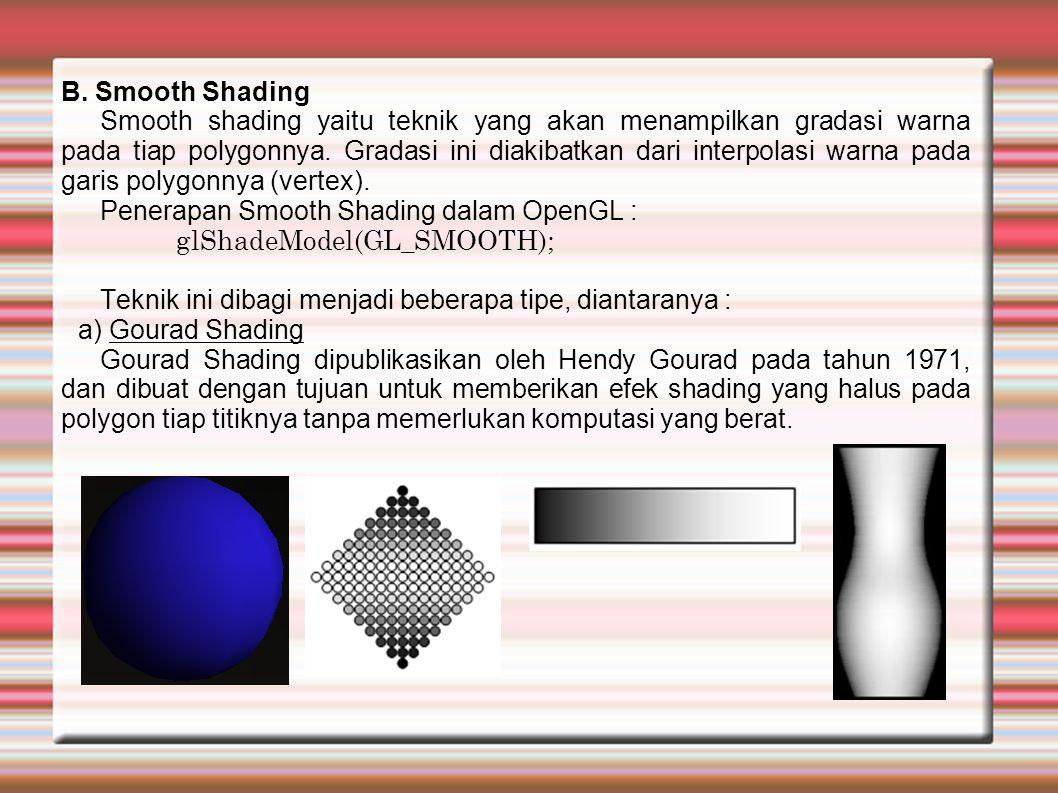 Gourad Shading menampilkan kesan gelap terang dari sebuah permukaan objek dengan memperhitungkan warna dan penyinaran dari tiap sudut segitiga.