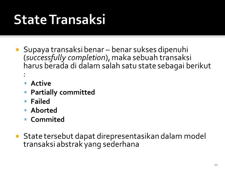  Supaya transaksi benar – benar sukses dipenuhi (successfully completion), maka sebuah transaksi harus berada di dalam salah satu state sebagai berik