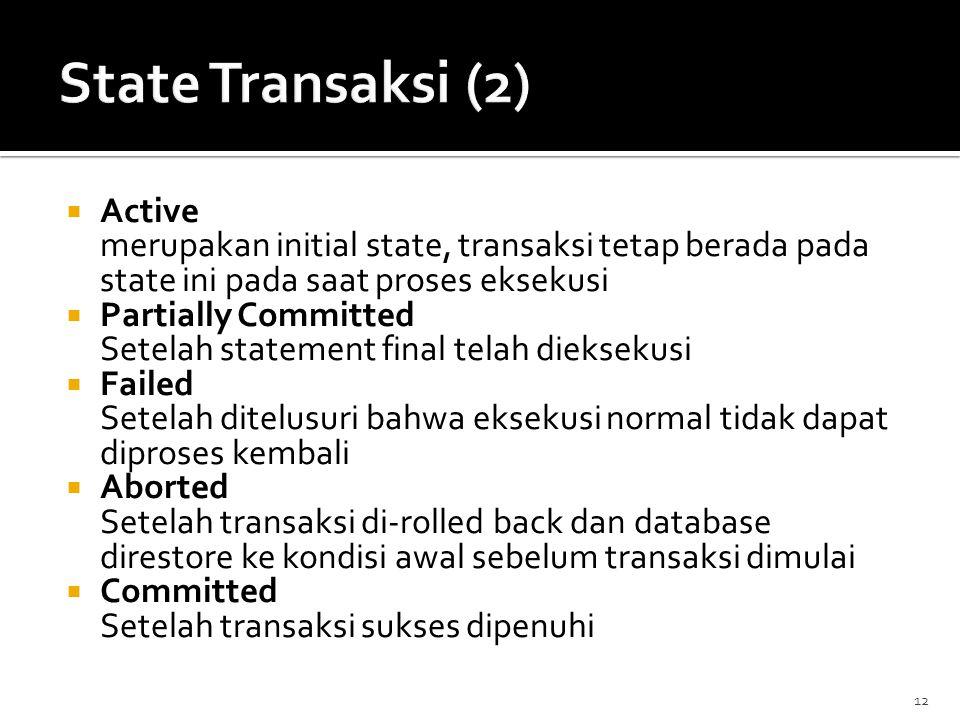  Active merupakan initial state, transaksi tetap berada pada state ini pada saat proses eksekusi  Partially Committed Setelah statement final telah