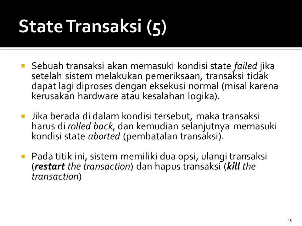15  Sebuah transaksi akan memasuki kondisi state failed jika setelah sistem melakukan pemeriksaan, transaksi tidak dapat lagi diproses dengan eksekus