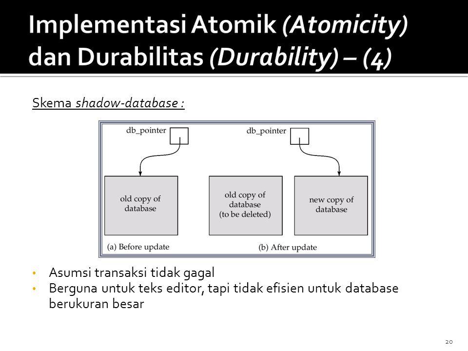 20 Skema shadow-database : Asumsi transaksi tidak gagal Berguna untuk teks editor, tapi tidak efisien untuk database berukuran besar