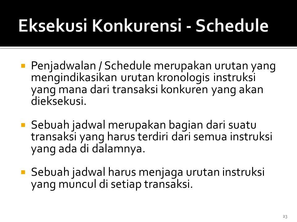 23  Penjadwalan / Schedule merupakan urutan yang mengindikasikan urutan kronologis instruksi yang mana dari transaksi konkuren yang akan dieksekusi.