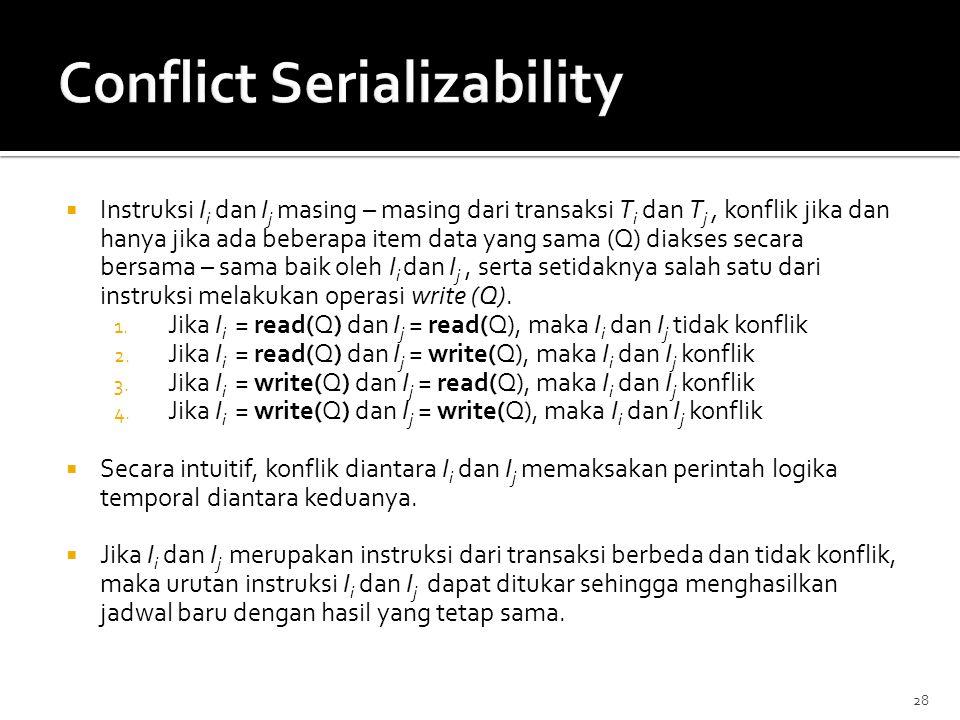 28  Instruksi I i dan I j masing – masing dari transaksi T i dan T j, konflik jika dan hanya jika ada beberapa item data yang sama (Q) diakses secara