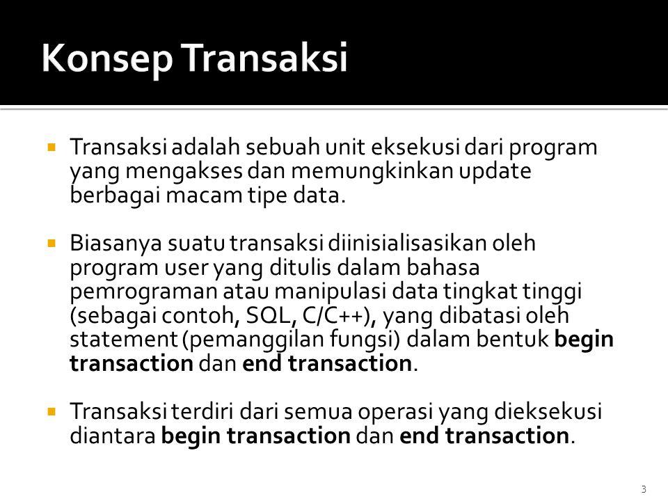  Transaksi adalah sebuah unit eksekusi dari program yang mengakses dan memungkinkan update berbagai macam tipe data.  Biasanya suatu transaksi diini