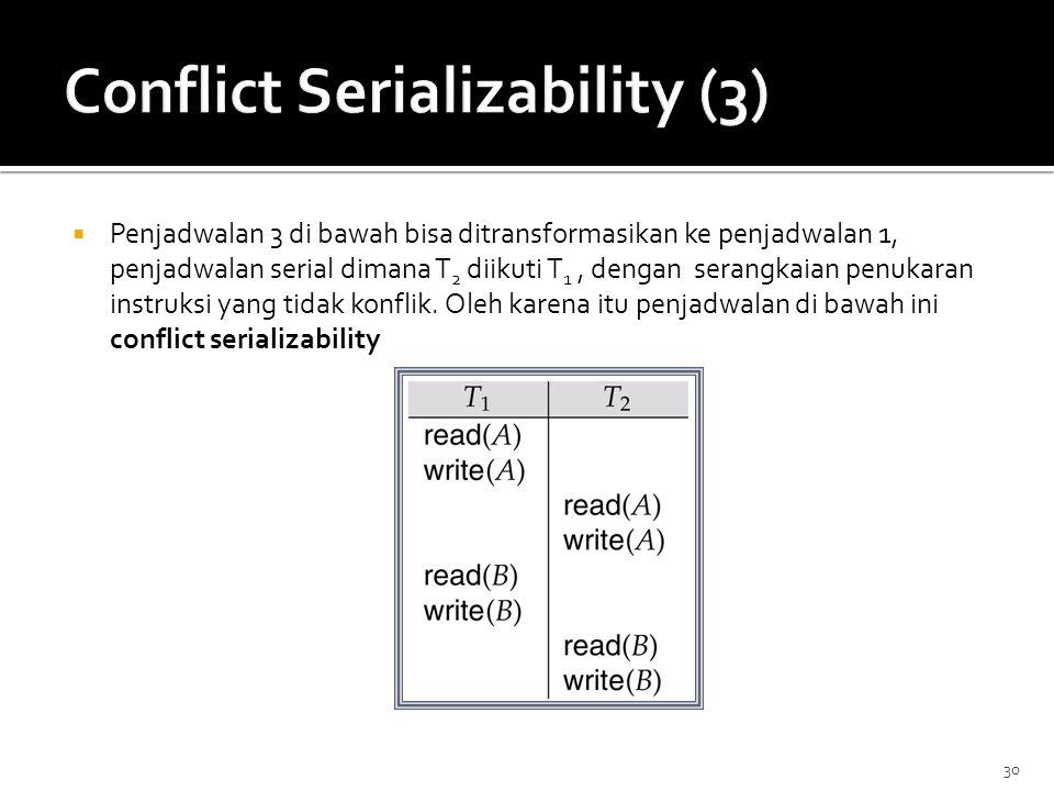 30  Penjadwalan 3 di bawah bisa ditransformasikan ke penjadwalan 1, penjadwalan serial dimana T 2 diikuti T 1, dengan serangkaian penukaran instruksi