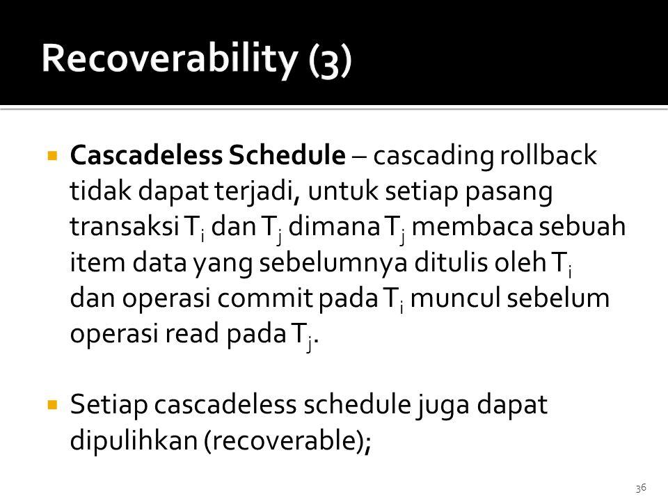 36  Cascadeless Schedule – cascading rollback tidak dapat terjadi, untuk setiap pasang transaksi T i dan T j dimana T j membaca sebuah item data yang