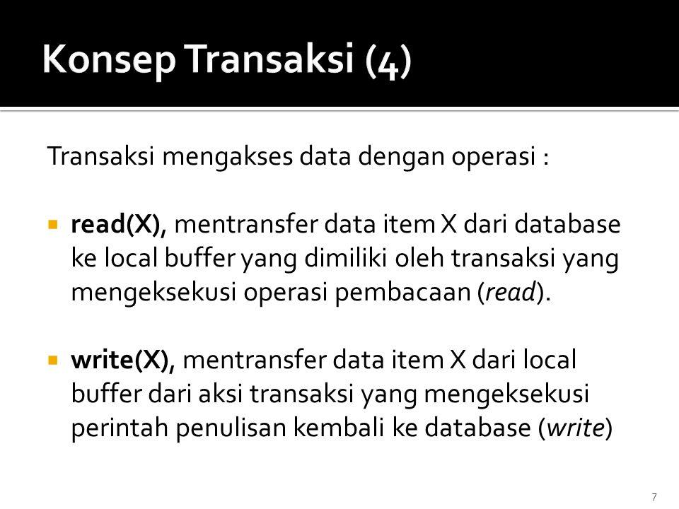 Transaksi mengakses data dengan operasi :  read(X), mentransfer data item X dari database ke local buffer yang dimiliki oleh transaksi yang mengeksek