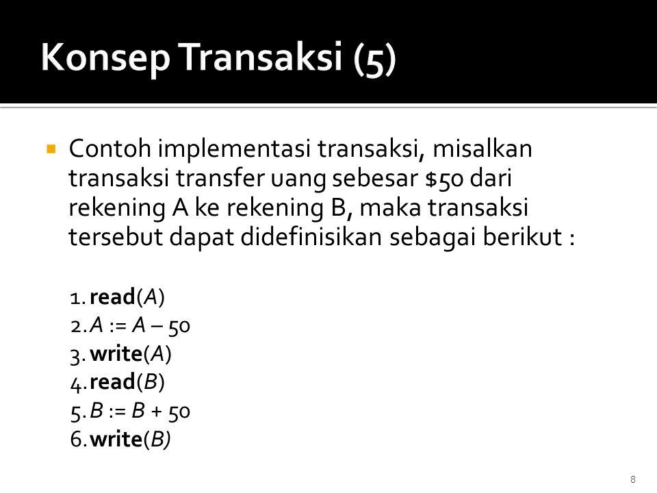  Contoh implementasi transaksi, misalkan transaksi transfer uang sebesar $50 dari rekening A ke rekening B, maka transaksi tersebut dapat didefinisik
