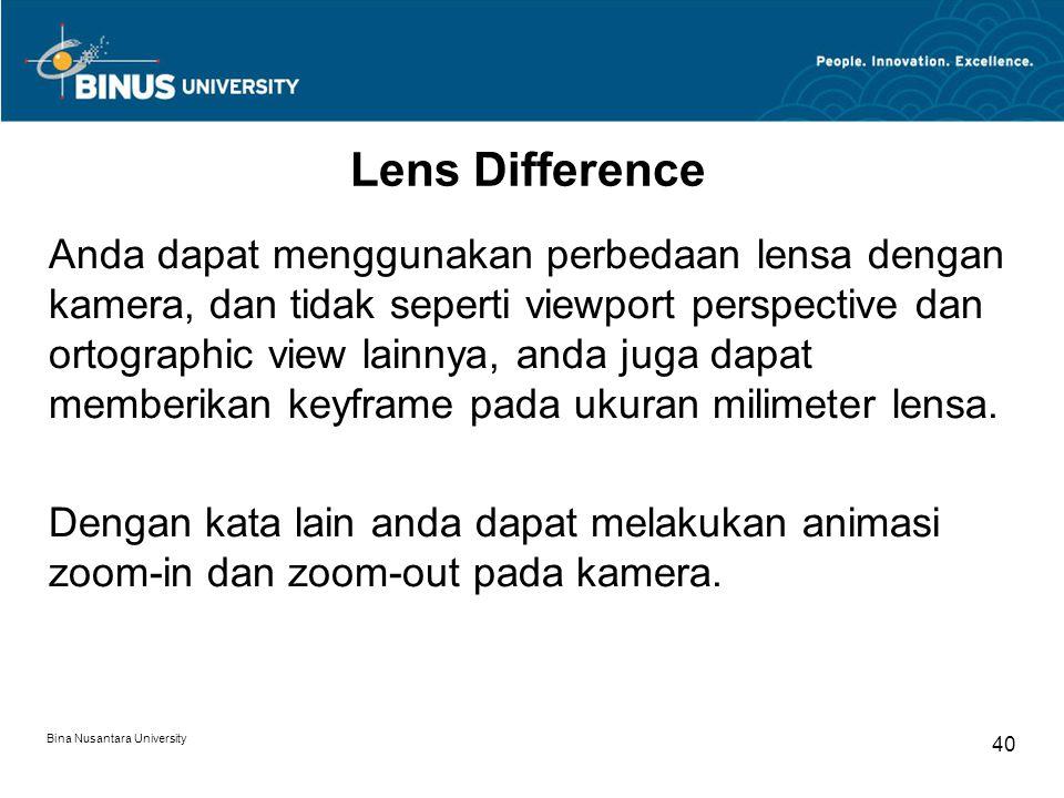 Bina Nusantara University 40 Lens Difference Anda dapat menggunakan perbedaan lensa dengan kamera, dan tidak seperti viewport perspective dan ortographic view lainnya, anda juga dapat memberikan keyframe pada ukuran milimeter lensa.