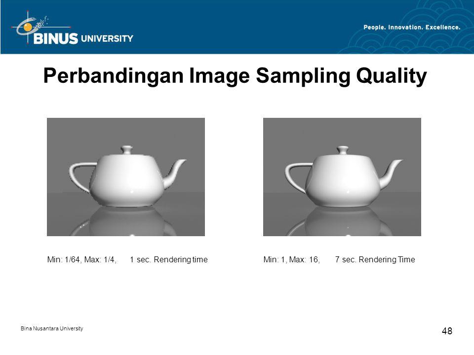 Bina Nusantara University 48 Perbandingan Image Sampling Quality Min: 1/64, Max: 1/4, 1 sec. Rendering time Min: 1, Max: 16, 7 sec. Rendering Time