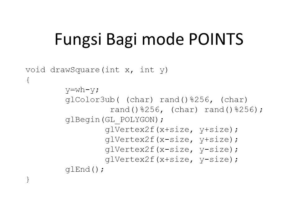 Fungsi Bagi mode POINTS void drawSquare(int x, int y) { y=wh-y; glColor3ub( (char) rand()%256, (char) rand()%256, (char) rand()%256); glBegin(GL_POLYGON); glVertex2f(x+size, y+size); glVertex2f(x-size, y+size); glVertex2f(x-size, y-size); glVertex2f(x+size, y-size); glEnd(); }