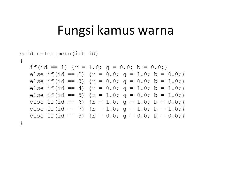 Fungsi kamus warna void color_menu(int id) { if(id == 1) {r = 1.0; g = 0.0; b = 0.0;} else if(id == 2) {r = 0.0; g = 1.0; b = 0.0;} else if(id == 3) {r = 0.0; g = 0.0; b = 1.0;} else if(id == 4) {r = 0.0; g = 1.0; b = 1.0;} else if(id == 5) {r = 1.0; g = 0.0; b = 1.0;} else if(id == 6) {r = 1.0; g = 1.0; b = 0.0;} else if(id == 7) {r = 1.0; g = 1.0; b = 1.0;} else if(id == 8) {r = 0.0; g = 0.0; b = 0.0;} }