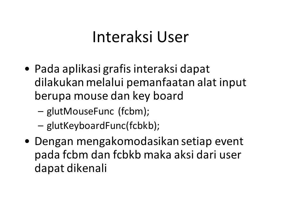 Interaksi User Pada aplikasi grafis interaksi dapat dilakukan melalui pemanfaatan alat input berupa mouse dan key board –glutMouseFunc (fcbm); –glutKeyboardFunc(fcbkb); Dengan mengakomodasikan setiap event pada fcbm dan fcbkb maka aksi dari user dapat dikenali