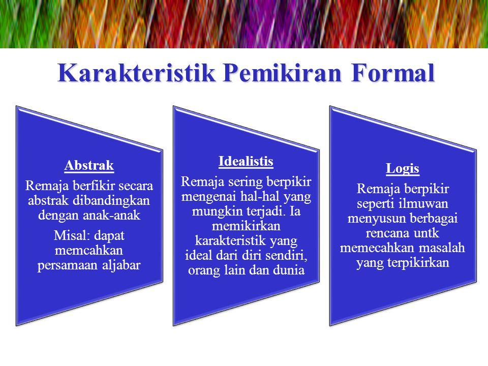 Karakteristik Pemikiran Formal Abstrak Remaja berfikir secara abstrak dibandingkan dengan anak-anak Misal: dapat memcahkan persamaan aljabar Idealisti