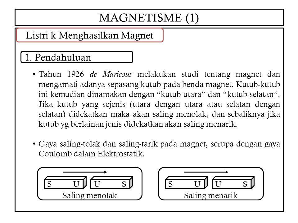 MAGNETISME (1) Tahun 1926 de Maricout melakukan studi tentang magnet dan mengamati adanya sepasang kutub pada benda magnet. Kutub-kutub ini kemudian d