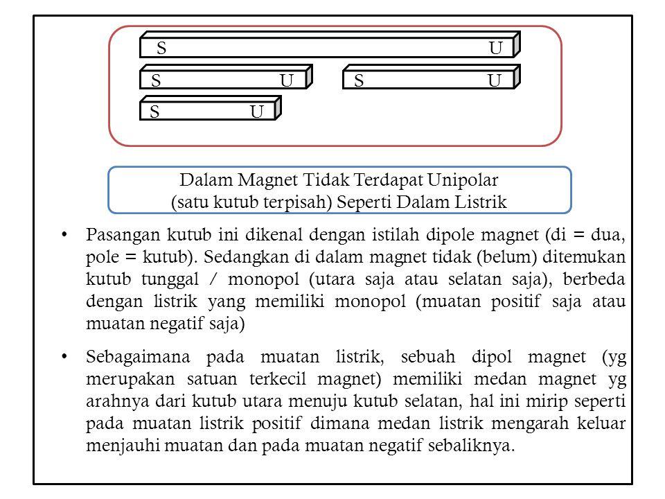 Pasangan kutub ini dikenal dengan istilah dipole magnet (di = dua, pole = kutub). Sedangkan di dalam magnet tidak (belum) ditemukan kutub tunggal / mo