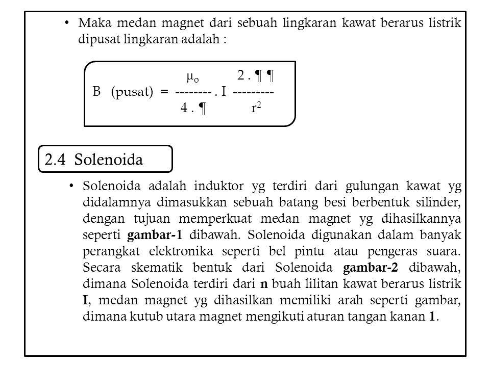 Maka medan magnet dari sebuah lingkaran kawat berarus listrik dipusat lingkaran adalah : Solenoida adalah induktor yg terdiri dari gulungan kawat yg d