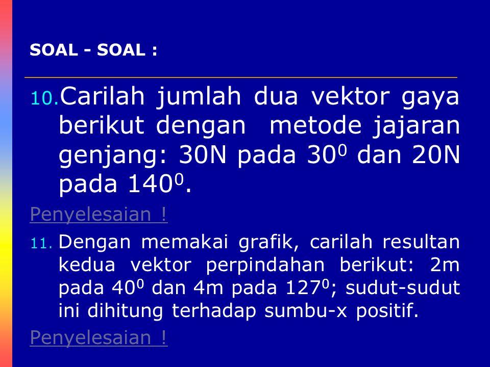 10. Carilah jumlah dua vektor gaya berikut dengan metode jajaran genjang: 30N pada 30 0 dan 20N pada 140 0. Penyelesaian ! 11. Dengan memakai grafik,
