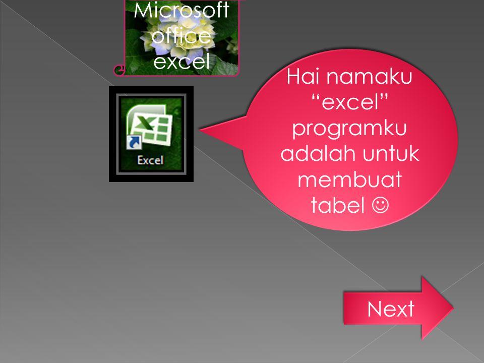 """Hai namaku """"excel"""" programku adalah untuk membuat tabel Microsoft office excel Next"""