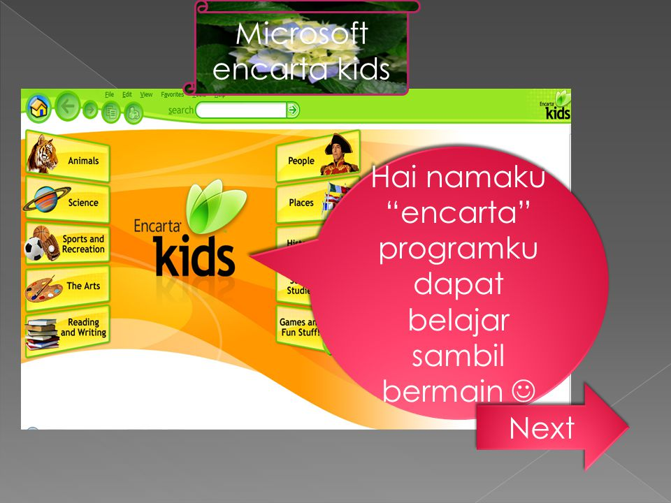"""Hai namaku """"encarta"""" programku dapat belajar sambil bermain Next Microsoft encarta kids"""