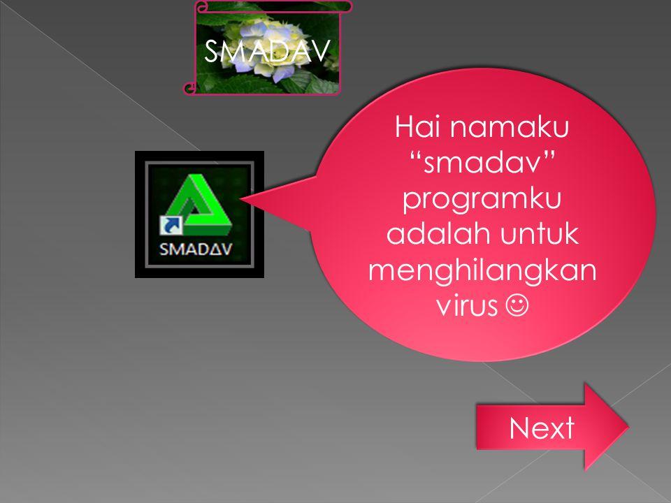 """Hai namaku """"smadav"""" programku adalah untuk menghilangkan virus Next SMADAV"""