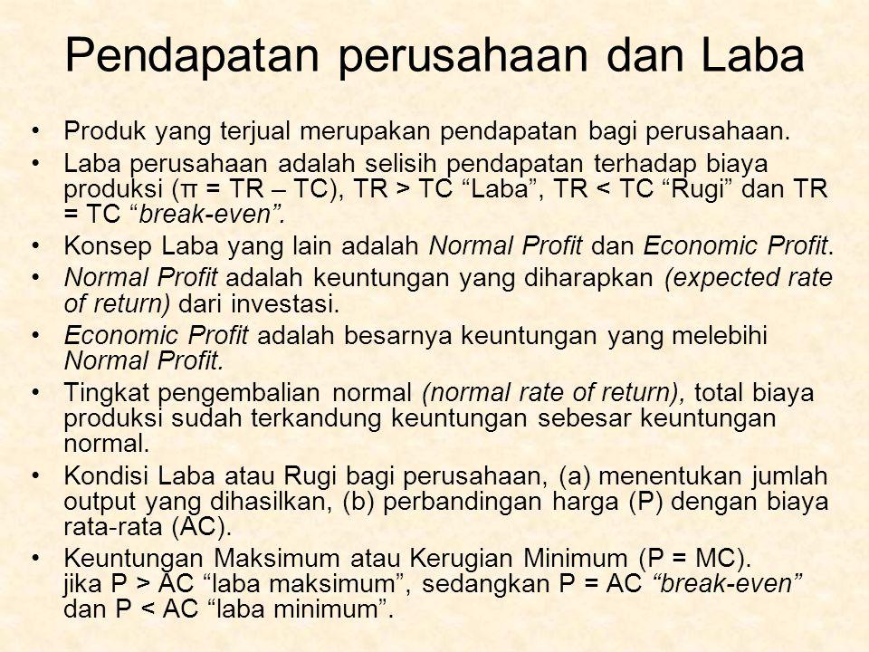 Pendapatan perusahaan dan Laba Produk yang terjual merupakan pendapatan bagi perusahaan. Laba perusahaan adalah selisih pendapatan terhadap biaya prod