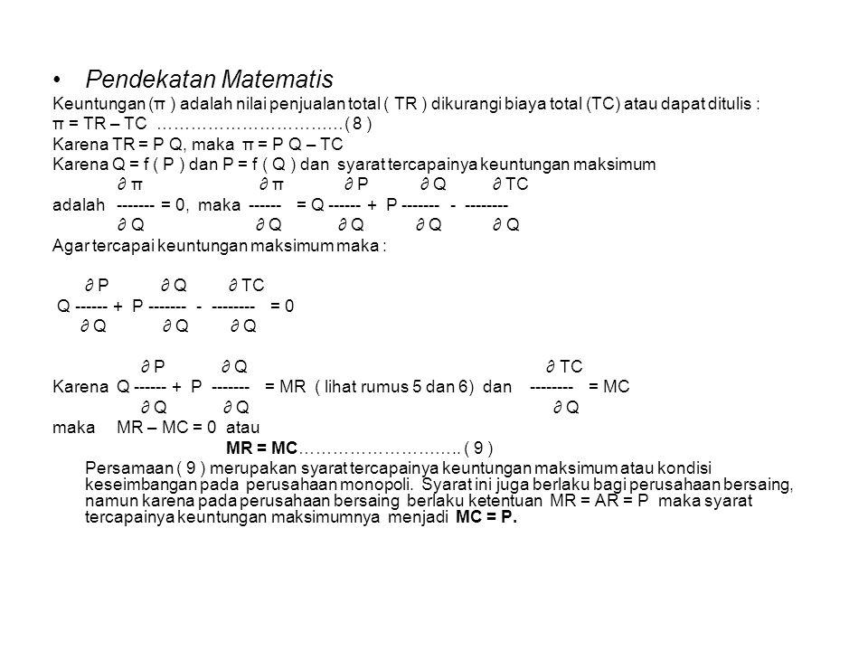 Pendekatan Matematis Keuntungan (π ) adalah nilai penjualan total ( TR ) dikurangi biaya total (TC) atau dapat ditulis : π = TR – TC ……………………………( 8 )