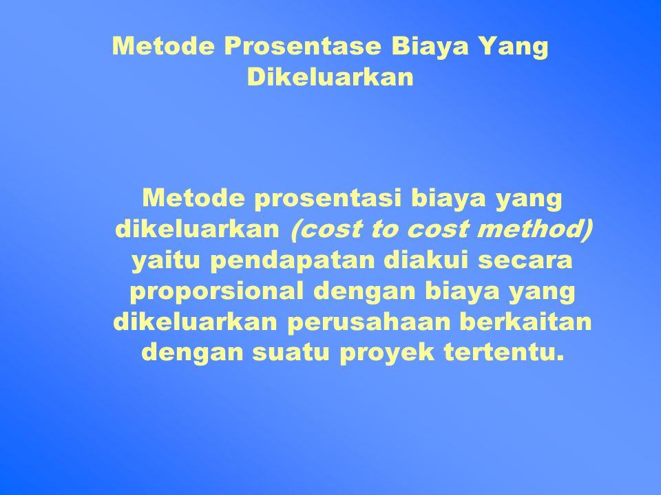 Metode Prosentase Biaya Yang Dikeluarkan Metode prosentasi biaya yang dikeluarkan (cost to cost method) yaitu pendapatan diakui secara proporsional dengan biaya yang dikeluarkan perusahaan berkaitan dengan suatu proyek tertentu.