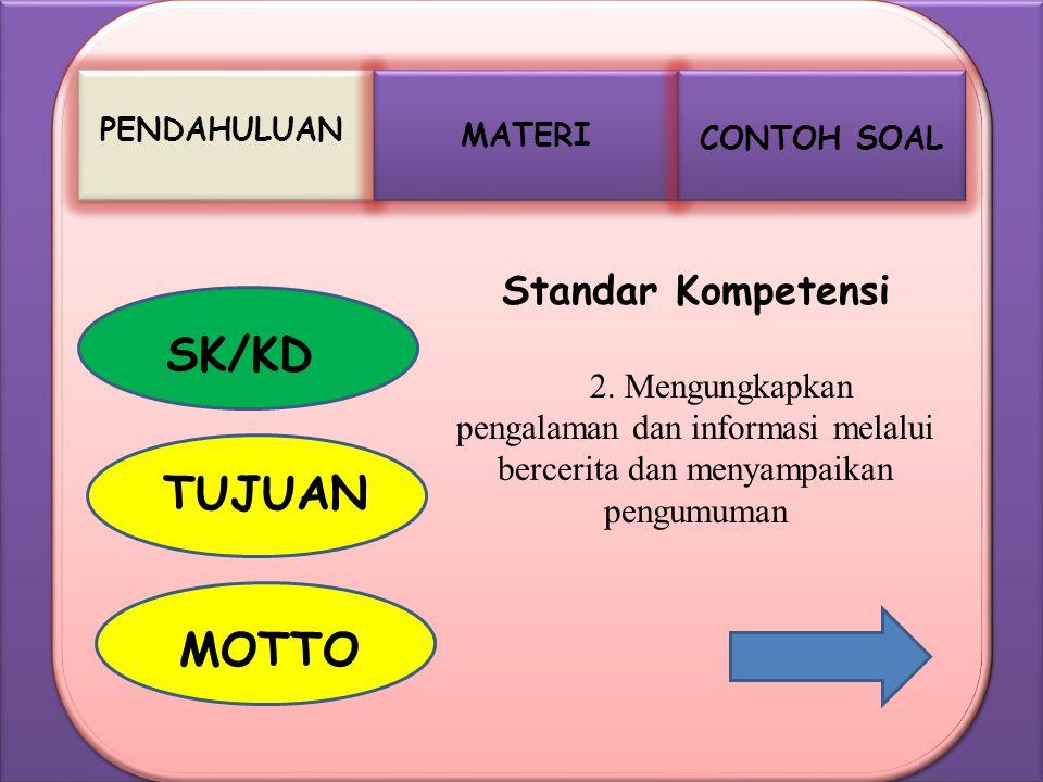MATERI PENDAHULUAN CONTOH SOAL SK/KD TUJUAN MOTTO Standar Kompetensi 2. Mengungkapkan pengalaman dan informasi melalui bercerita dan menyampaikan peng